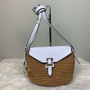 Michael Kors cross body straw bag